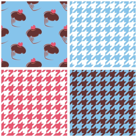 brown pattern: Tile vector wallpaper background set with houndstooth and heart chocolate cupcakes. White, violet pink and brown pattern sweet collection Illustration