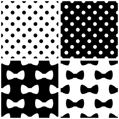 dot pattern: Tile black and white vector pattern set with polka-dots and bows Illustration