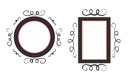 marcos decorativos: Hand drawn vector black and pink decorative frames isolated on white background