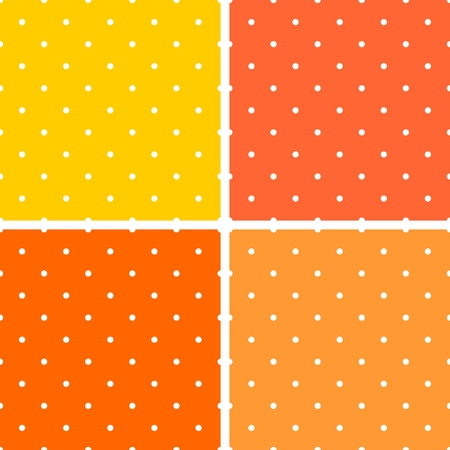 background orange: Summer tile vector pattern set with white polka-dots on pastel pink, orange, yellow background