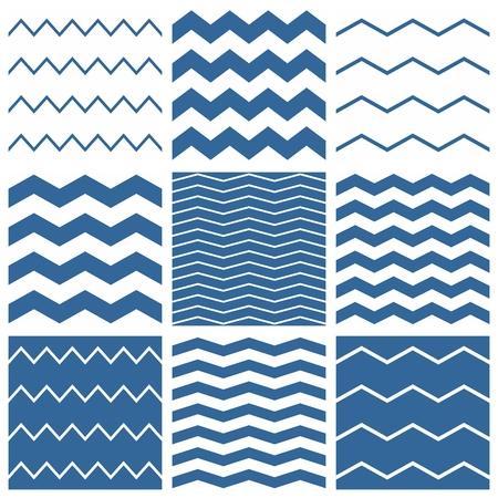 zig: Vector Tile chevron pattern set with sailor blue and white zig zag background