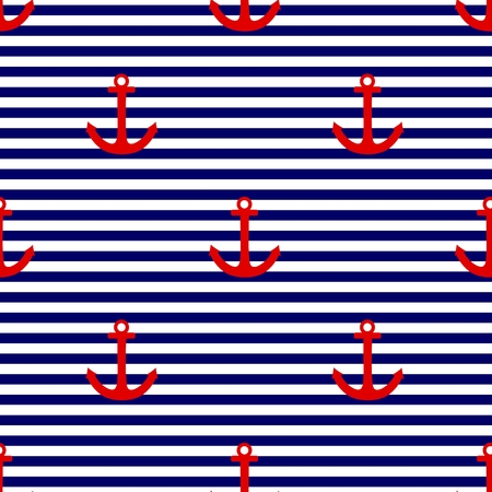 Sailor tile vector pattern with red anchor on a navy blue and white stripes background