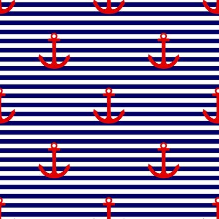 Sailor tegel vector patroon met rode anker op een marineblauwe en witte strepen achtergrond