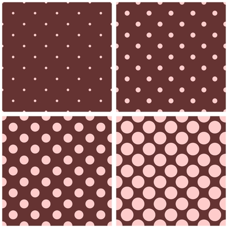 pink brown: Seamless pattern with pastel pink polka-dots on chocolate brown background