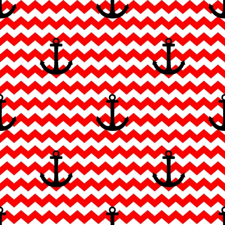 zig: Sailor tile pattern with black anchor on red and white zig zag background Illustration