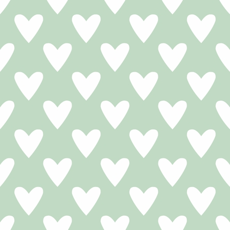 mint: Cute vector tile pattern with hand drawn hearts on white mint blue background Illustration