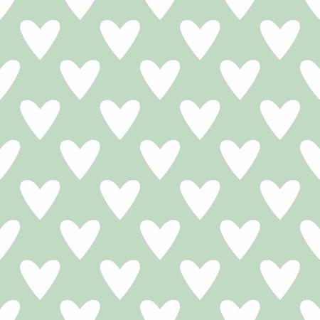 Vector pattern: mẫu gạch vector dễ thương với tay rút trái tim trên nền màu xanh bạc hà trắng
