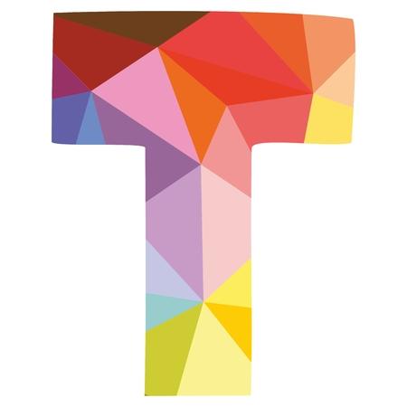 tipos de letras: T baja poli superficie envoltura letra del alfabeto en colores pastel del vector aislado en el fondo blanco