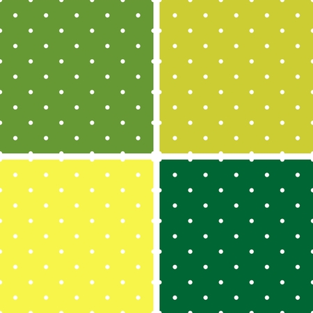 green texture: Green background vector set with seamless patterns or textures. White polka dots on pastel, colorful fresh spring green and yellow background.