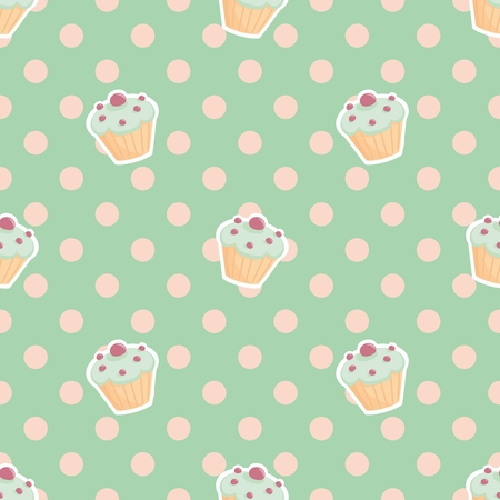 homemade cake: Tile vector pattern with cupcakes and polka dots on mint green background Illustration