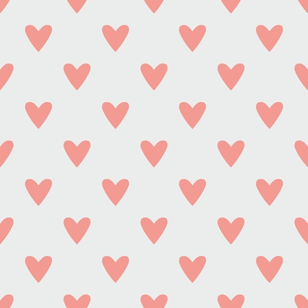 cute background: Tile cute vector hand drawn pattern with pink hearts on gray background Illustration