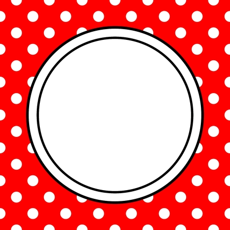 black circle: Hand drawn vector frame with a polka dots on red background Illustration