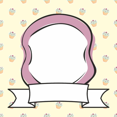 cake background: Hand drawn vector violet photo frame on sweet cake background