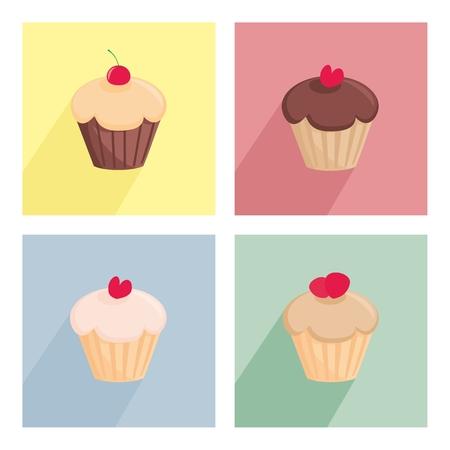 sweet background: Sweet cupcake flat vector icon set isolated on white background Illustration