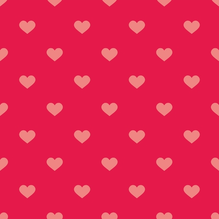 checkered background: Cute tile vector pattern with hearts on pastel pink background