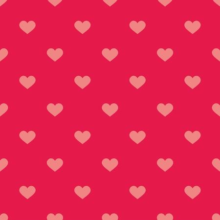lunares rojos: Vector patrón de azulejos lindo con los corazones en color rosa pastel de fondo