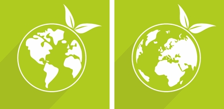 africa tree: Eco vector recycling icon, sign or earth day sticker with green sprouts. World globe with long shadow