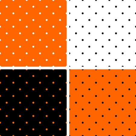 preppy: Polka dots orange, black and white background set. Tile decoration wallpaper or autumn vector pattern collection