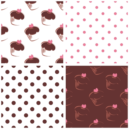 brown pattern: Seamless vector background set with polka dots and heart chocolate cupcakes. White, pink and brown sweet pattern collection for cute desktop wallpaper or website design Illustration