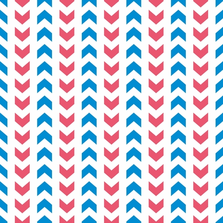 Tile vector pattern with blue and pink arrows on white background