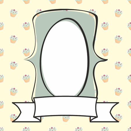 cake background: Hand drawn mint green vector frame on sweet cake background