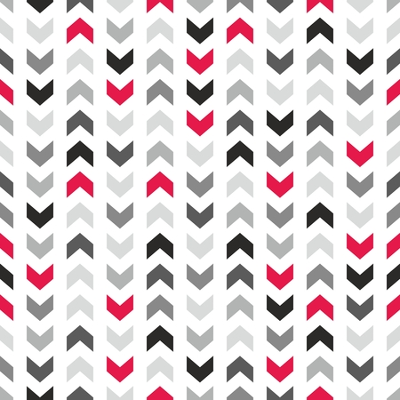 Tile vector pattern with gray and red arrows on white background