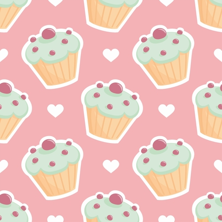 website background: Tile vector pattern with cupcake and white hearts on pink background Illustration
