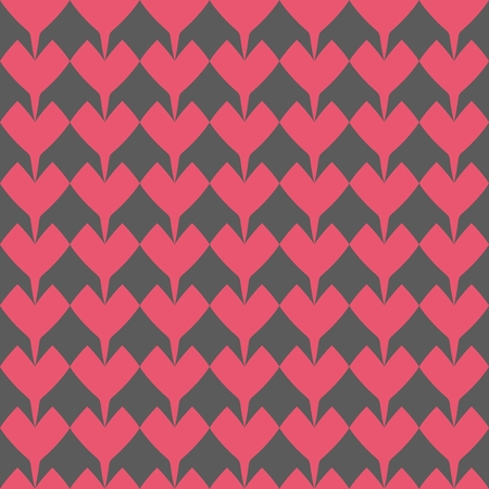 Tile Vector Pattern With Pink Hearts On Black Background For Seamless Decoration Wallpaper Stock