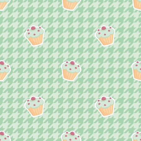 mint: Cupcake vector tile pattern on mint green houndstooth background.