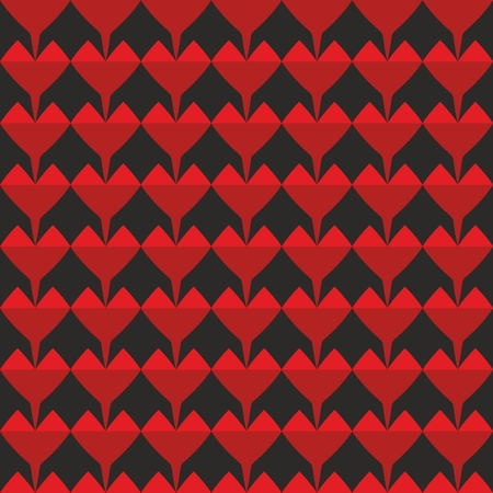 red wallpaper: Vector tile pattern with red hearts on black background for seamless decoration wallpaper
