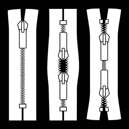 unzip: Zipper types. Closed-ended type X and the type schema zip vector illustration isolated on black background.