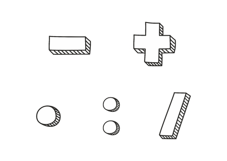 Plus, minus, multiplication and division hand drawn vector icon isolated on white background