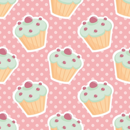 pink and black: Vector tile pattern with cupcakes and polka-dots on pastel pink background Illustration