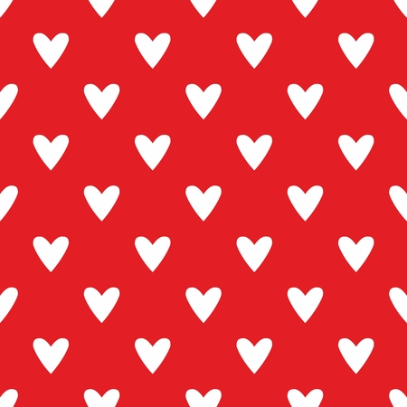 hearts background: Tile vector pattern with white hearts on red background