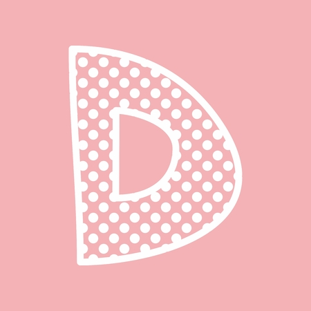 pink background: D vector alphabet letter with white polka dots on pink background