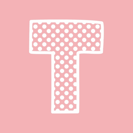 dotted letters t vector alphabet letter with white polka dots on pink background