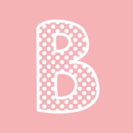 B vector alphabet letter with white polka dots on pink background