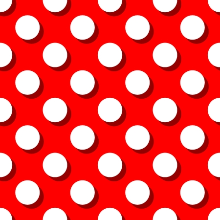 polka: Retro pattern with big white polka dots on red background for decoration wallpaper