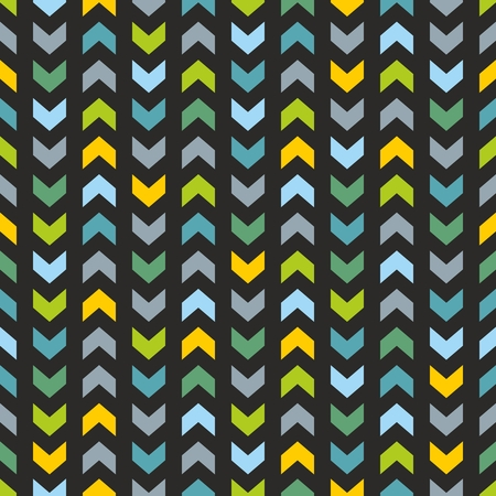 tile pattern: Tile pattern with blue and mint green zig zag print on black background Illustration