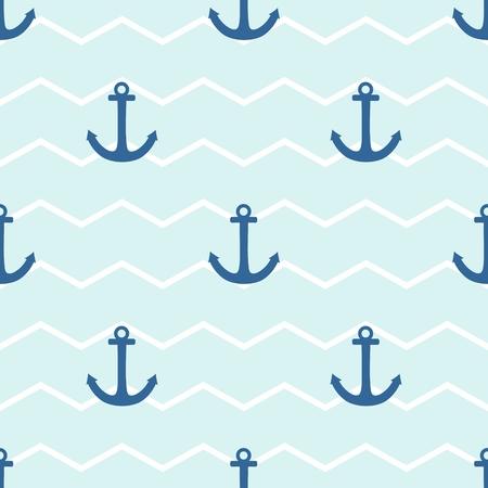 ancre marine: Sailor modèle vectoriel de la tuile avec l'ancre sur un fond de rayures blanches et bleues