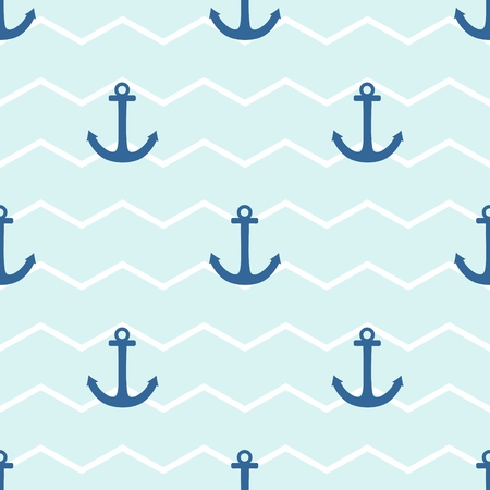 Sailor tile vector pattern with anchor on a white and blue stripes background