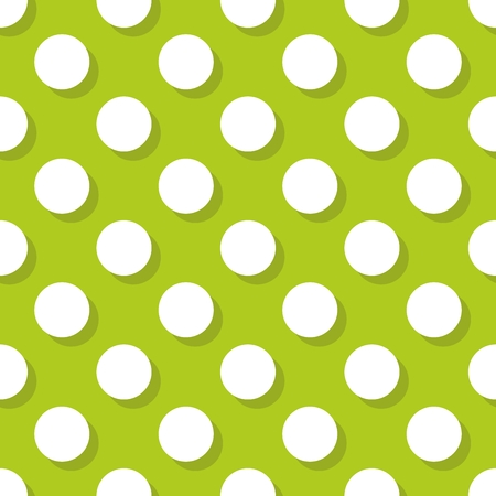 tile pattern: Vector tile pattern with big white polka-dots with shadow on green background