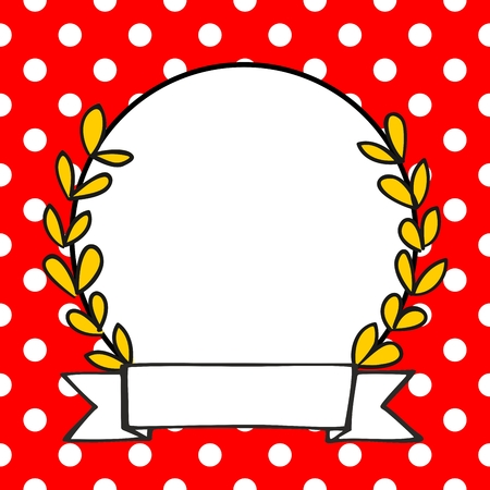 red and white: Laurel wreath vector decorative photo frame on a polka dots red background