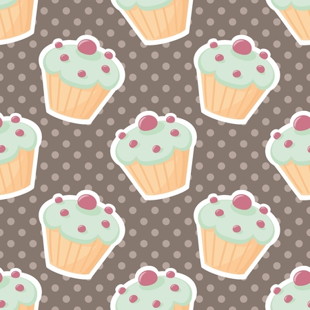 tile pattern: Vector tile pattern with cupcakes and polka-dots on brown background
