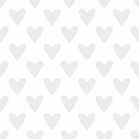 Tile cute vector pattern with grey hearts on white background Illustration