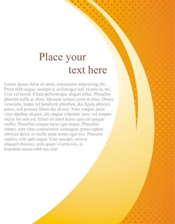 Document page vector template with white background and abstract orange wave. Yellow modern brochure, poster, business folder background or card invitation with space for text or photo