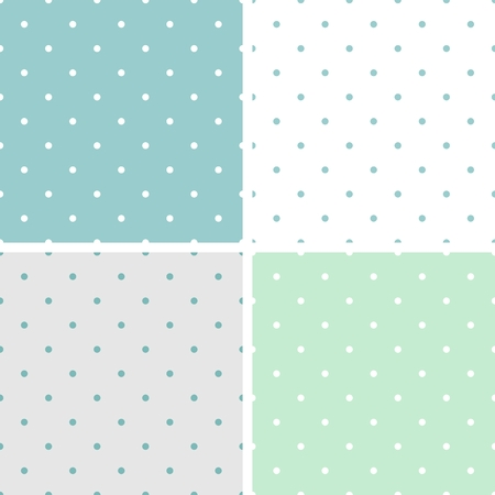 pale: Tile vector pattern set with polka dots on grey, green, white and blue background