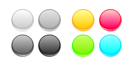 web design background: Colorful vector web button set. Grey, black, red, blue, yellow and green neon design elements isolated on white background.