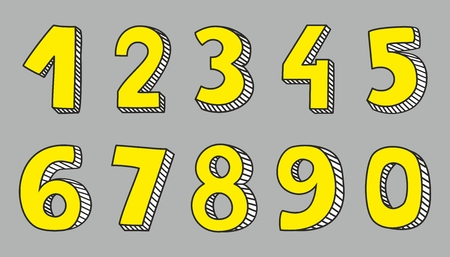 numbers: Hand drawn yellow vector numbers isolated on grey background
