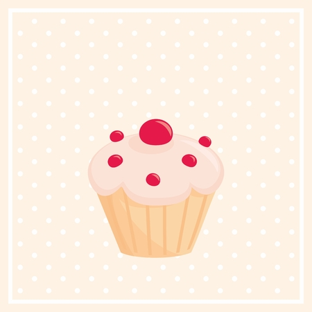 sweet background: Sweet vector cupcake on white polka-dots pink background Illustration
